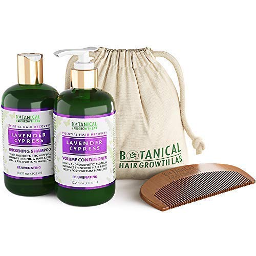 Anti Hair Loss Alopecia Postpartum DHT Blocker Shampoo and Conditioner Value Set Lavender - Cypress Hair Growth Botanical For Hair Thinning Prevention