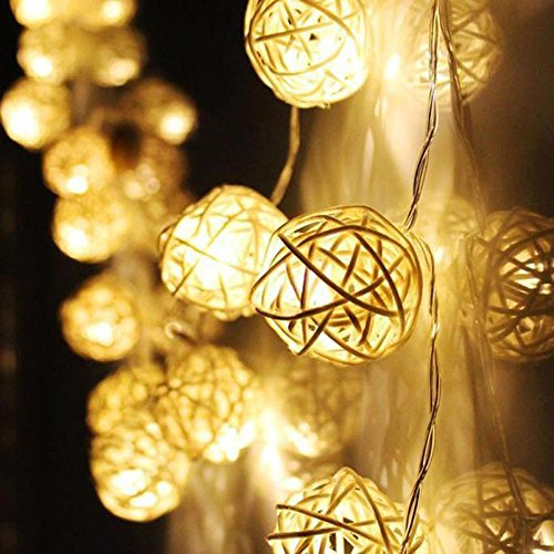 CakeLY 2019 Halloween Decorations 10 LED Color Rattan Ball String Fairy Lights for Xmas Wedding Party -