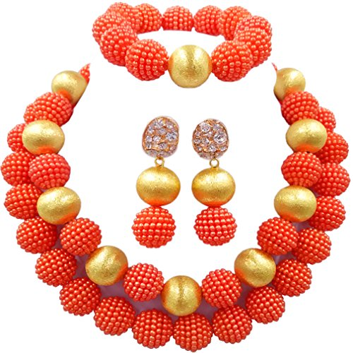 aczuv Nigerian Wedding African Beads Red Jewelry Sets for Women Simulated Pearl Necklace and Earrings (Orange)