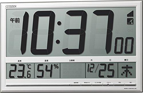 시티즌 벽시계 전파 디지탈 대형 오피스 R200 고정밀도 온도 ・ 습도 캘린더 환경 기준 표시 두어 걸이 겸용 은색 CITIZEN 8RZ200-003