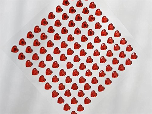 Adhesive Self Wholesale Rhinestones (Efavormart Heart Design Wholesale Self Adhesive Crystal Diamond Rhinestone Stickers - Red 600 PCS)