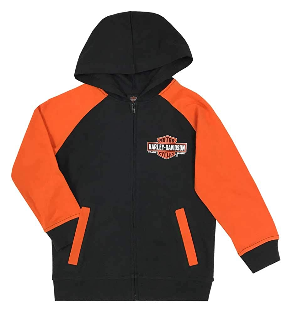 Black /& Orange Harley-Davidson Big Boys Bar /& Shield Knit Zippered Hoodie