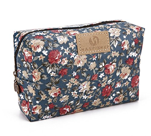 Cute Travel Makeup Pouch Cartoon Printed Toiletry Cosmetic Bag for Girls, Women Floral