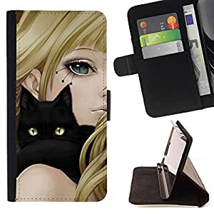 For Sony Xperia Z5 compact / mini Girl Anime Cat Blonde Black Yellow Eyes Drawing Style PU Leather Case Wallet Flip Stand Flap Closure Cover