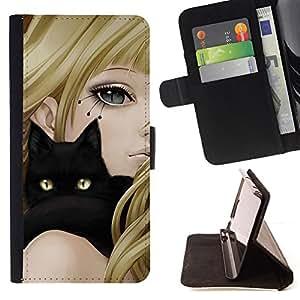 - Black Cat & Anime Girl/ Personalizada del estilo del dise???¡¯???¡Ào de la PU Caso de encargo del cuero del tir???¡¯????n del s - Cao - For HTC One