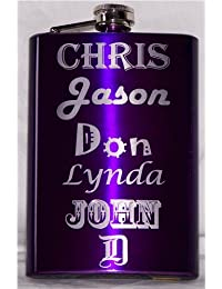 Favor 8oz Engraved Electric Purple Hip Flask, Free Personalization occupation