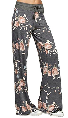 Elsofer Women's Lounge Pants Comfy Casual Floral Print Drawstring Wide Leg Pajama Palazzo Pants for Women (Tag 3XL (US 14), Dark Grey) Printed Lounge Pants