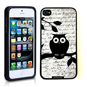 Iphone 5 5S Case Thinshell Case Protective Iphone 5 5S Case Shawnex Cute Owl On Vintage Paper