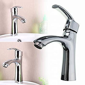 HITSAN Copper Sink Faucet Single Hole Hot Cold Faucet One Piece - One piece bathroom sink faucet