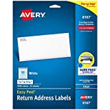 Avery Address Labels with Sure Feed for Inkjet Printers, 0.5' x 1.75', 2,000 Labels, Permanent Adhesive (8167), White