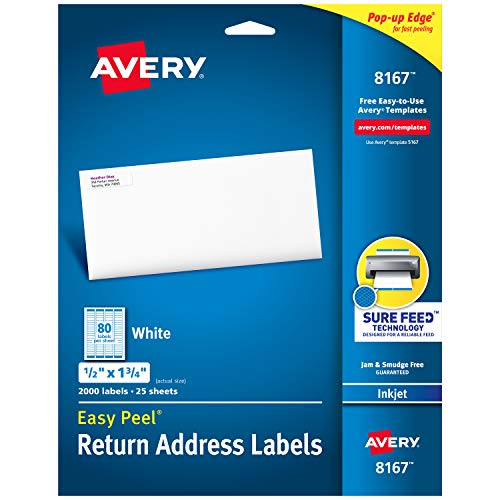 Designs Free Label Address - Avery Address Labels with Sure Feed for Inkjet Printers, 0.5