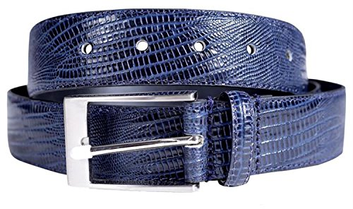 Chocolate Pickle New Mens Reptile Skin Crocodile Textured Genuine Leather Pin Buckle Belts Navy Blue XL (Reptile Buckle Belt)
