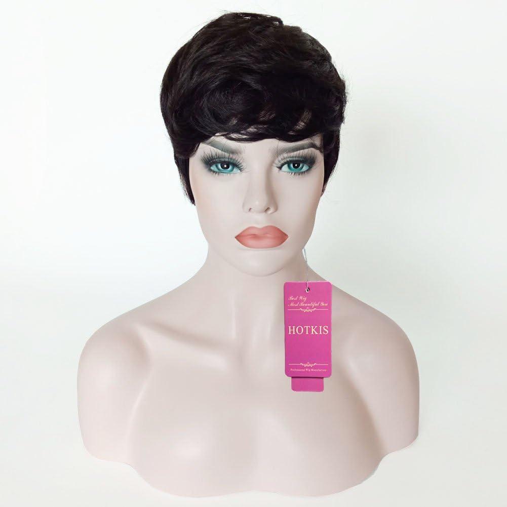 Hotkis Cheveux Humains Des Perruques Pour Femme Noire Cheveux Courts Perruque Pixie Avec Des Perruques Pour