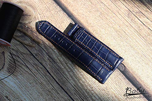 Navy Blue Genuine Alligator Watch Strap, Alligator Grain Calf Leather Watch Band, Handmade Watch Strap 24mm, Leather Strap, Leather Watch Band