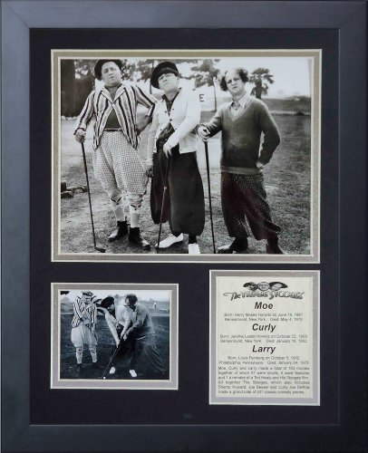 Legends Never Die Three Stooges Golf Black White Framed Photo Collage, 11 by 14-Inch (Golf Three Picture Stooges)