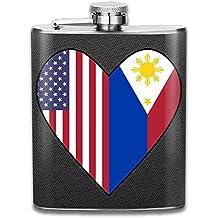 Portable 304 Stainless Steel Hip Flask, Half Philippines Flag Half USA Flag Love Heart 7 Oz Pocket Flagon Fishing Wine Pot