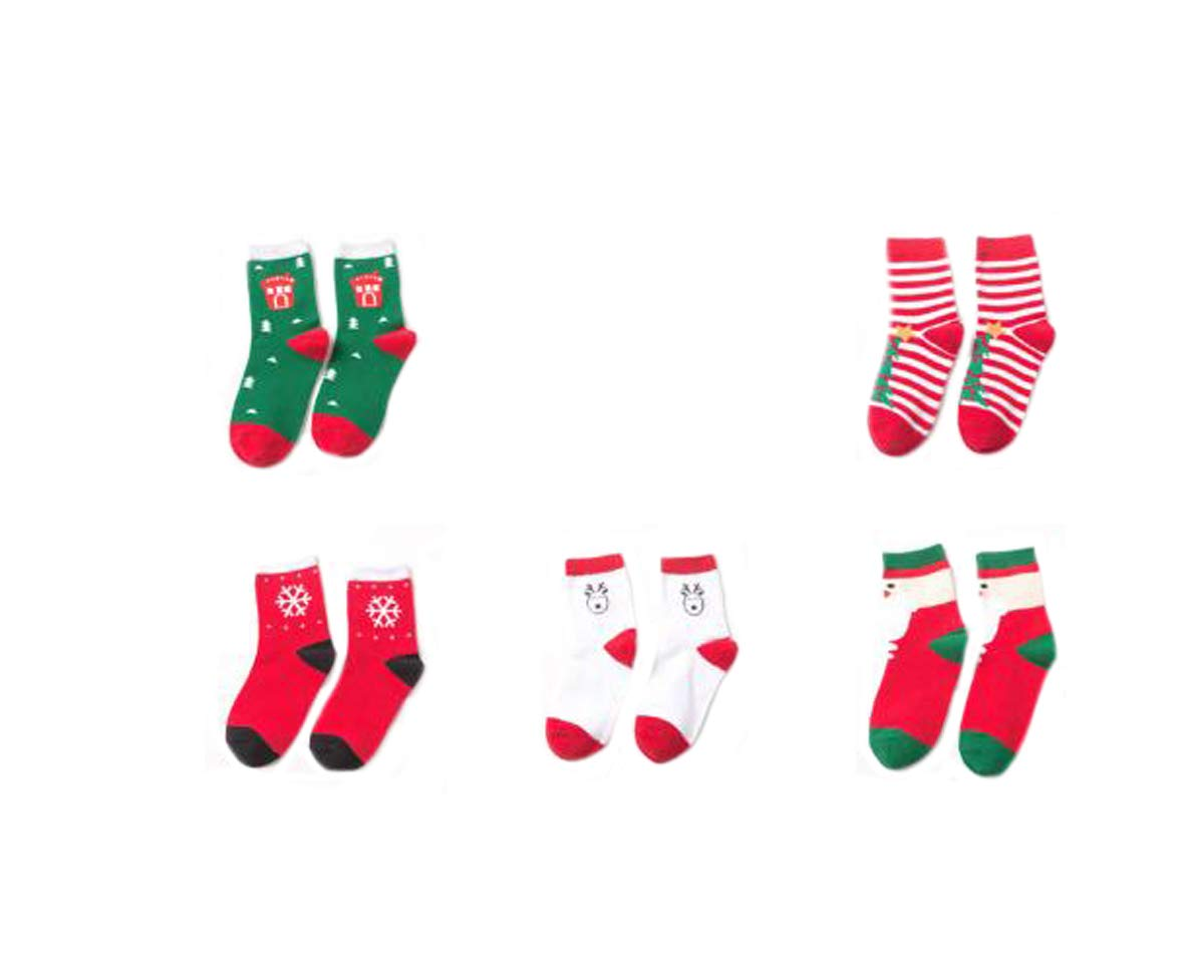Ewanda store 5 Pairs Fashion Cotton Winter Tube Socks Christmas Holiday Socks for 4-6 Years Old Toddler Baby Kids Children Boys Girls,M