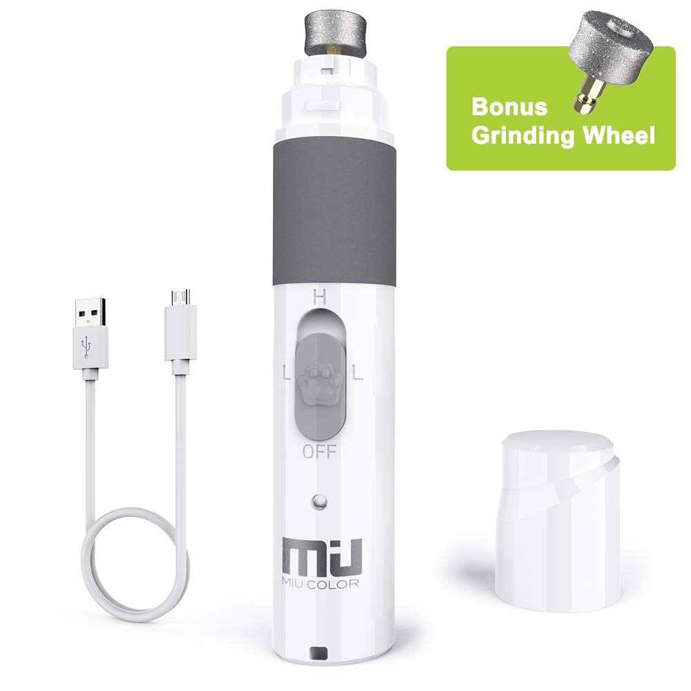 MIU COLOR Pet Nail Grinder, Electric Dog Nail Grinder Rechargeable Paw Trimmer Clipper, Gentle Painless Paws Grooming Nail Clipper for Small Medium Large Dogs Cats, Quiet Powerful