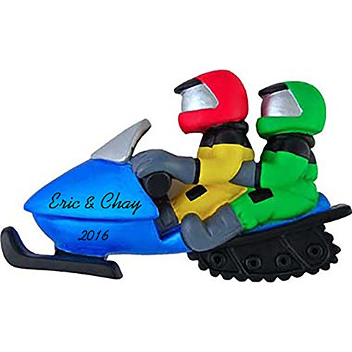 [Snowmobile Couple Personalized Christmas Ornament] (Couple Personalized Christmas Ornament)