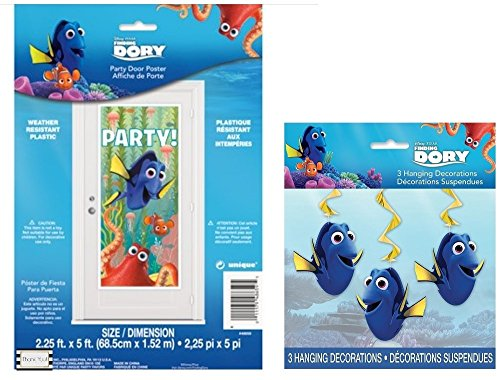 Disneys Finding Dory Party Door Poster and 3 (Three) Swirl Hanging Decorations by BT