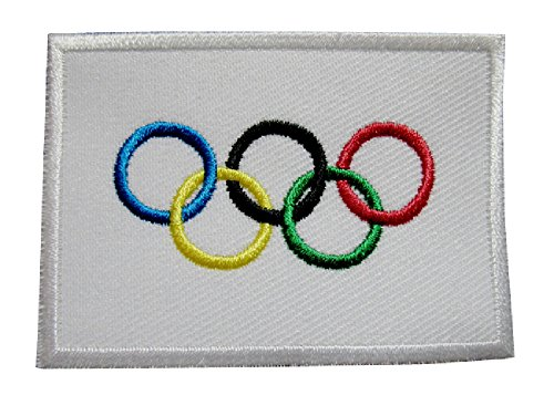 (International Olympic Game Symbols Five Rings Flag Sew on Patch Free Shipping)