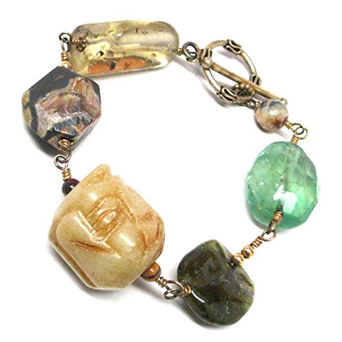 Smoky Quartz Toggle Bracelet - Serpentine Buddha Face Grassularite Garnet Large Gemstone Statement Bracelet