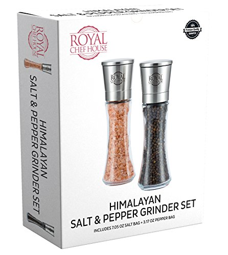 Himalayan Salt and Pepper Grinder Set with Ceramic Blades - Premium Glass and Stainless Steel Salt Mill and Pepper Mill + Pre-filled with Salt and Pepper + 1 Salt Refill Bag and 1 Pepper Refill Bag