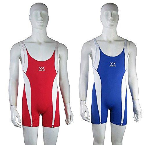 (wesing Professional Gym Freestyle Wrestling Team Male Wrestler Singlet (a Set Red&Blue) (168~172cm,5.51~5.64ft))