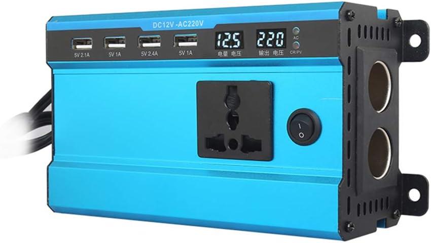 Rosepoem Inversor de energía solar de 100W / 200W DC 12V 24V a 220V AC, cargador para convertidor de corriente para automóvil con salida universal de CA 4 Interfaz USB y encendedor de cigarrillos dual