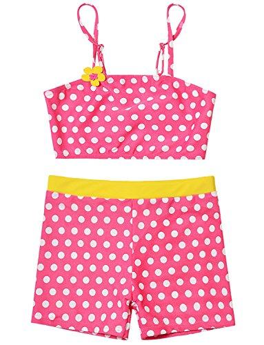 Turquoise Polka Dot Ruffle - Two Piece Swimsuits Girls 10-12 Flat Angle Set Polka Dot Peplum Rash Guard Set