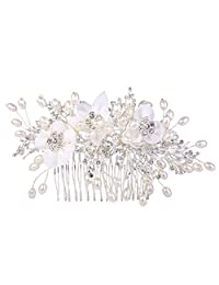 Ever Faith Women's Crystal Cream Simulated Pearl Lace Flower Vine Hair Side Comb Clear Silver-Tone