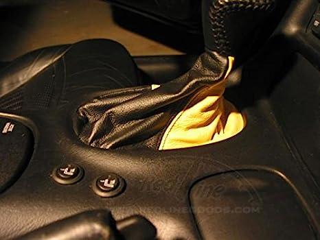 RedlineGoods Shift Boot AUTO Medium Gray Leather-Black Thread Compatible with Chevrolet Corvette C5 1997-04