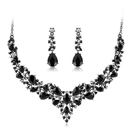 Choker Wedding Jewelry Sets Austrian Crystal Necklace Earrings Set Gifts fit Wedding Dress