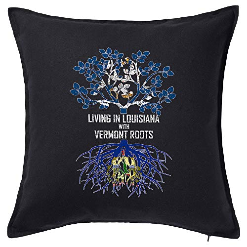 Tenacitee Living in Louisiana with Vermont Roots Black Throw Pillow with Duck Feather Filling (Burlington La Rouge Baton)