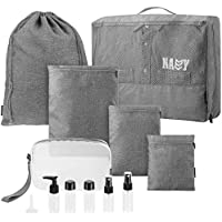 Clispeed Travel Packing Organizers Set Packing Cubes Luggage Storage Bags Toiletry Bag with Travel Bottles (Gray)