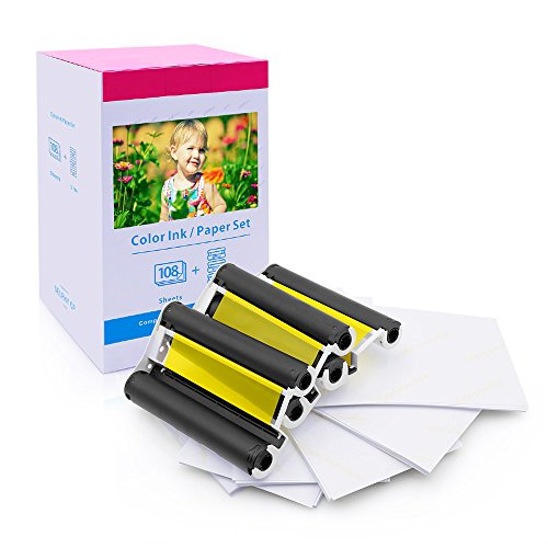 Startup Photo Paper KP-108IN, 108 Sheets 4 x 6 inch Paper Set and Color Ink, Compatible with Canon SELPHY CP1300, CP1200, CP900