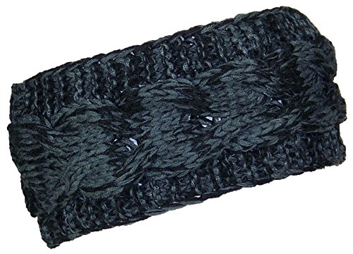 Best Winter Hats Loose Cable Knit Headband/Ear Warmer Womens (One Size) - Black