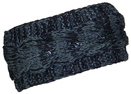 Best Winter Hats Loose Cable Knit Headband/Ear Warmer Womens (One Size) - Black