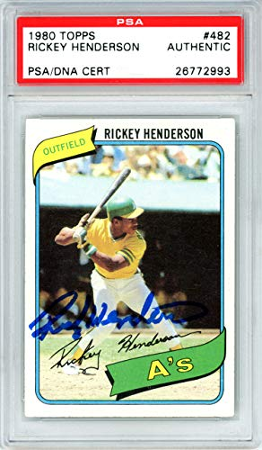 Rickey Henderson Autographed 1980 Topps Rookie Card #482 Oakland A's PSA/DNA #26772993