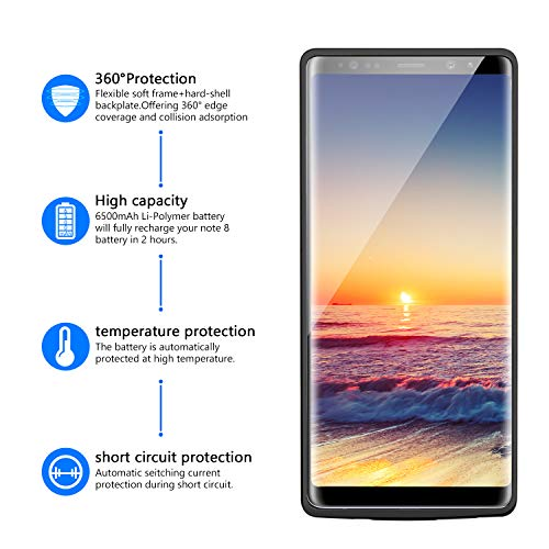 Battery Case Compatible for Galaxy Note 8 PEYOU 6500mAh Large Capacity No Extra Chin TPU Frame Protective Charging Case Extended Backup Charger Power Bank Cover Compatible for Samsung Galaxy Note 8 6.3 with Extra USB Output Port For Charging Any Other D