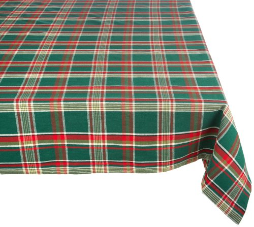Dark Green Plaid Square Tablecloth, 100% Cotton with 1/2 Hem for Holiday, Family Gatherings, & Christmas Dinner (60x104 - Seats 8 to 10)