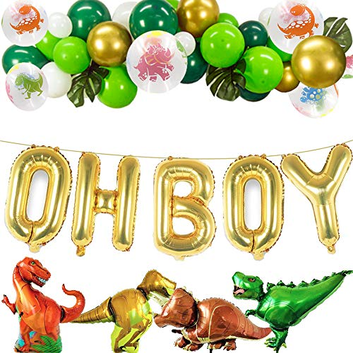 Dinosaur Party Decorations Gold OH BOY Foil Balloons with White Green Gold Latex Balloons for Dino Jungle Jurassic Dinosaur Party Supplies