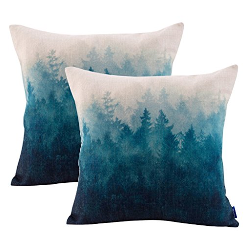 - JES&MEDIS Pillowcase 2 Pack Forest Scenery Series Cotton Linen Decorative Square Throw Pillow Covers Cushion Case for Home Sofa Bedroom Office Car 18 X 18 Inch 45 X 45 cm