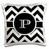 3dRose black and White Chevron Monogram Initial P-Pillow Case, 16...