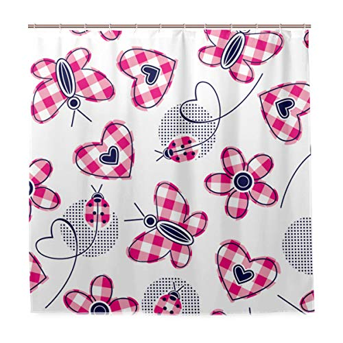 ZOMOY Decoration Shower Curtain Shower Plaid Hearts Daisies Butterfly Ladybugs Textile Bath Curtains Waterproof Fabric Bathroom Decor Set with Hooks 48X72inch
