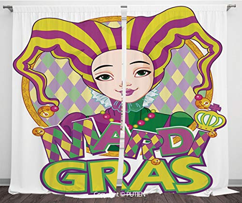 Satin Window Drapes Curtains [ Mardi Gras,Carnival Girl in Harlequin Costume and Hat Cartoon Fat Tuesday Theme,Yellow Purple Green ] Window Curtain Window Drapes for Living Room Bedroom Dorm Room Clas