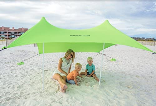 Best XL Portable Beach Shade Sun Shelter Canopy Sail Tent Large Sunshade - Includes Carrying Bag 2 Poles 2 Stakes for Park/Grass Use Elastic Lycra ... & Amazon.com: Mad Grit Insane Deal Beach Shade Tent - UV Protection ...