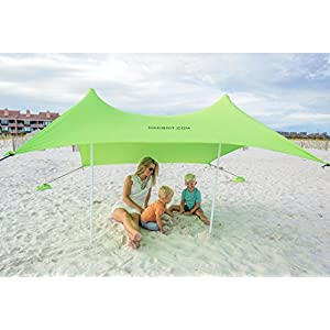 Best XL Portable Beach Shade, Sun Shelter, Canopy Sail Tent, Large Sunshade Includes Carrying Bag, 2 Poles, 2 Stakes for Park/Grass Use, Elastic Lycra Sail, and 4 sandbags.