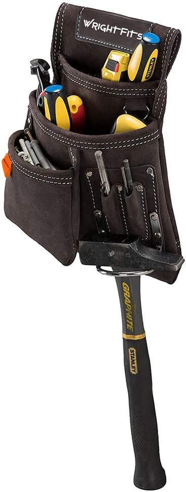 WrightFits WW180114 Pochette /à outils en cuir avec plusieurs poches charpentiers jardiniers Porte-outils Organisateur de travail pour les constructeurs /électriciens Marron fonc/é