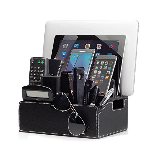 MobileVision Charging Station Faux Leather Executive Stand Multi Device Organizer w/ Extension Use w/ Apple iPhone/iPad, Samsung Galaxy, and Laptops